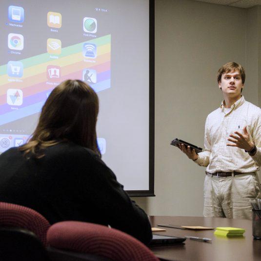 eTech staff member leading a workshop