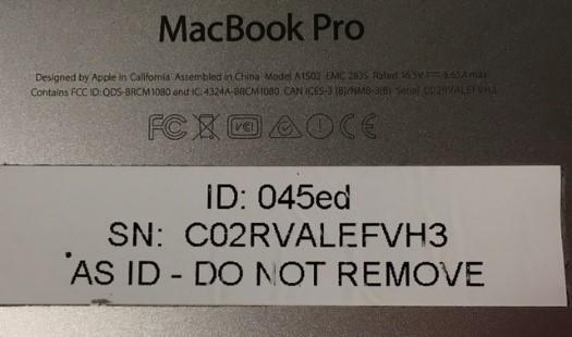 A&S label on Apple MacBook