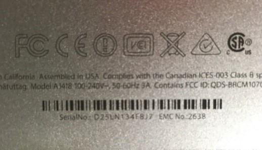 serial number tag on Apple iMac